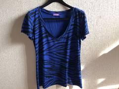 ANAPアナップ青色ブルーゼブラ柄VネックTシャツカットソー半袖