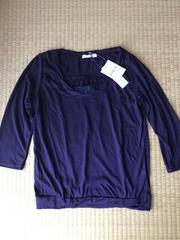 新品★レース付き 七分袖薄手カットソー 紫M