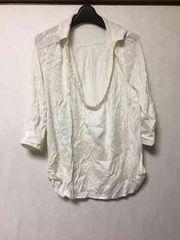 重ね着/パール付/七分袖/シャツ/ホワイト/M