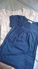 Tシャツ2枚セット*アンティローザ*袖鍵編みレーストップス夏物