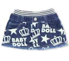 新品BABYDOLL☆星ロゴ総柄 デニムスカート 90 ベビードール