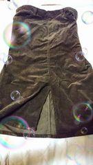 XLサイズコーディロイ ストリット入りタイトスカート