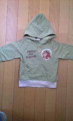 黄緑色のフード付き長袖シャツ可愛いライオンの絵柄(90�a)