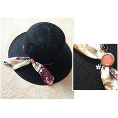 スワロフスキー付き☆バッグインもできる ブラック ハット 帽子
