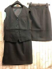 新品☆7号お仕事ベストスーツ黒同スカート2枚付!オフィス☆n285