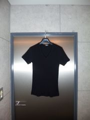 美品〓トルネードマート〓Vネック半袖リブカットソー〓黒/L