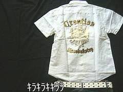 ■LOWBOX■バック*ゴールドプリント★ロールupシャツホワイトL