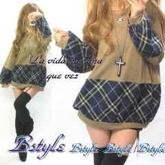 NEW最新ぷっくり裾袖チェック柄切替ゆるカワ*ニットソーチュニック高品質♪9350