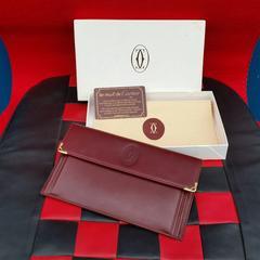 付属付◆鑑定済◆美品!Cartierカルティエ/マスト財布★ボルドー