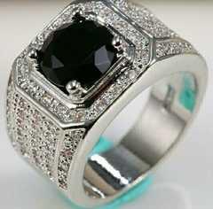 1円〜◆Black オニキス1.8CT White sapphire Ring18号