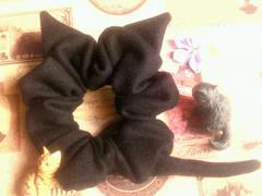 ハンドメイド*・゚ウールな黒猫モチーフシュシュ猫耳&しっぽ♪ネコ