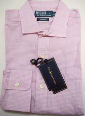 ポロ ラルフローレン 長袖ドレスシャツ M/チェック柄 ピンク