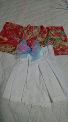 200・送込 新品☆ハンドメイド お宮参り 羽織袴風ドレス 水色リボン