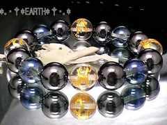 天然石★重量感金彫四神獣水晶&ヘマタイト&ブルーオーラ水晶