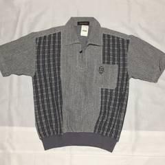 メンズ 半袖ポロシャツ 透け編み素材 グレー系