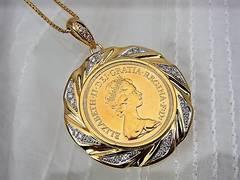 送無 1979 イギリス ソブリン金貨 ダイヤモンド ペンダントトップ 極美 M14★dot