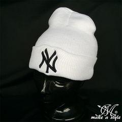 NYヤンキース ニューヨーク ニットキャップ 白 MLB B系 755