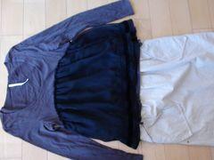 sunao素敵な異素材ドッキング長袖Tシャツ