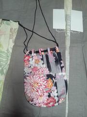 ☆新柄黒×牡丹大輪の花柄信玄巾着袋リバーシブル