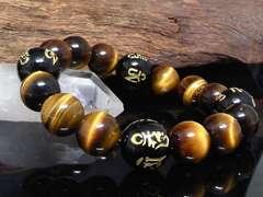 六字真言オニキス14ミリ§タイガーアイ12ミリ数珠