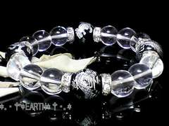天然石★12ミリ高級銀彫四神獣黒瑪瑙&天然水晶数珠