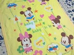 ベビーミッキー&ベビーミニー綿毛布サイズ80�p×110�p黄色