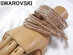 500スタ本物スワロフスキーダブルラップ 2重巻タイプ(12連)ブレスレットベージュ