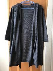 OZOC オゾック 七分袖フード付トッパーカーディガン ネイビー