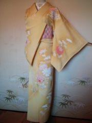 薄カラシパステル菊*付下正絹袷159チョー美品レタP