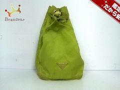 プラダ ポーチ 7 - ライトグリーン 巾着型 ナイロン PRADA