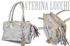 新品CATERINA LUCCHIメタリックヴィンテージ調革バッグシルバー
