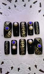 黒ゴールドアラベスクアジアンテイストネイルチップ