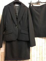 新品☆7号洗える黒2スカートスーツオフィスお仕事g822