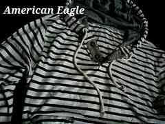 【American Eagle】Vintage フード付 ヘンリーネック 長袖Tシャツ US−L(XL)