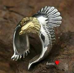 送料無料16号シルバーゴールドビッグメタルイーグルリング指輪