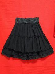 送1円★ワールドgroveレースフリルスカートチュチュフレアスカート黒パーティードレスユニクロ似GU似