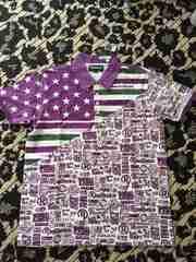 リアルビーボイス☆RealBvoice☆新品タグ付☆Tシャツ☆紫×緑☆L☆