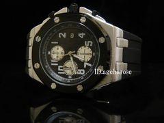 腕時計 クロノグラフ風 シルバー ブラック/ オーデマピゲ好きに