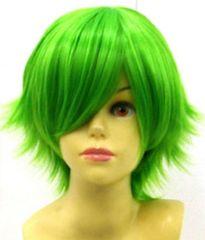 即納可能★即決★ フルウィッグ ショートはね 緑/グリーン L3