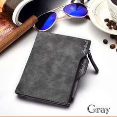 財布 二つ折り財布 ヴィンテージ レザー 札入れ 小銭入れ グレー