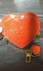 赤ハート薔薇柄キーホルダー付きコインケース