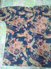 ☆新柄紺×牡丹花車短冊和柄ダボシャツM