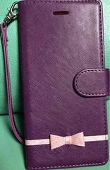 新品 iPhone6用 リボン付き手帳型ケース パープル