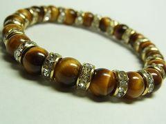 タイガーアイ虎目石金色ロンデル8ミリ数珠