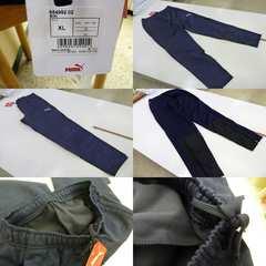 送料込(XL紺)プーマ ハイブリッドパンツ 654992 ロング丈裾ファスナー細身裏起毛