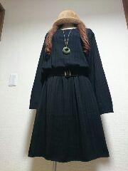 ★新品タグ10L★ベルト付き★黒ニットワンピ