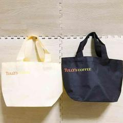 【NEW】TULLY'S COFFEE ミニトートバッグ2個セット/黒/オフ白