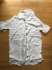新品★とろみ素材のシャツワンピース★Mサイズ★ホワイト★