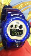 カシオBaby-Gショック腕時計クリアブルースケルトンボディ反転液晶ブラックベビーG