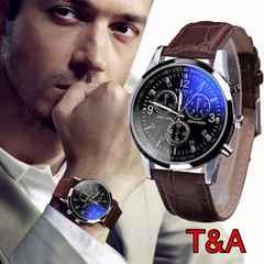腕時計 メンズ  高品質レザー 革 ベルト ウォッチ  ブラウン